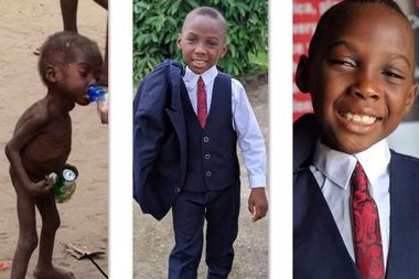 Hope tenía dos años cuando fue rescatado, y en la actualidad se encuentra sano y asiste a la escuela