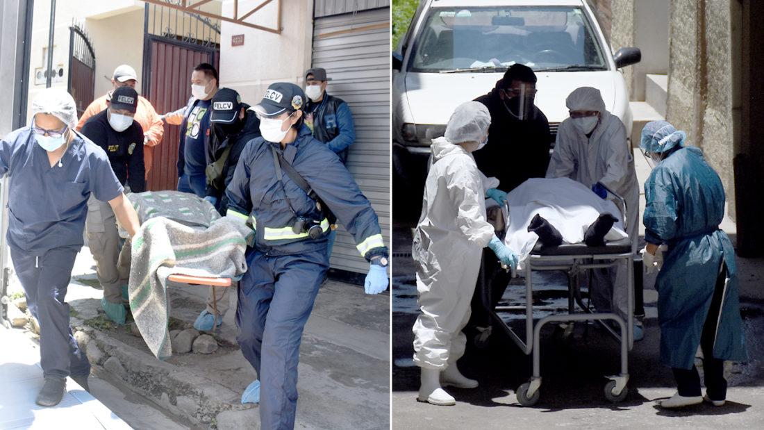 Personal de la FELCV y del IDIF realizan el levantamiento del cadáver del militar jubilado y de la víctima de feminicidio, en Cochabamba. DICO SOLÍS