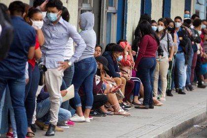 Decenas de jóvenes hondureños hacen fila para entregar papeles en una empresa privada y optar a un empleo en Tegucigalpa el 8 de diciembre de 2020. EFE/Gustavo Amador/Archivo