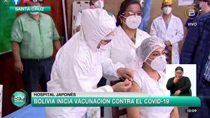 La enfermera Sandra Ríos recibe la primera dosis de Sputnik-V; comienza la vacunación en Bolivia