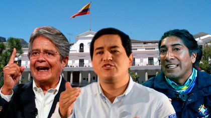 Guillermo Lasso, Andrés Arauz y Yaku Pérez son los tres pincipales candidatos en las elecciones de este domingo en Ecuador.