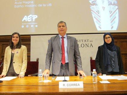 13/04/2018 El expresidente del Ecuador, Rafael Correa, en una conferencia en Barcelona POLITICA ESPAÑA EUROPA CATALUÑA