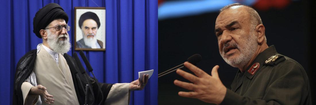 El Ayatollah Ali Khamenei, líder supremo de Irán, y el líder de la Guardia Revolucionaria, Hossein Salami, quien apoyó la teoría de que EEUU creó el coronavirus como un arma biológica ((Meisam Hosseini/Hayat News Agency via AP, archivo; AP Photo/Vahid Salemi, archivo)