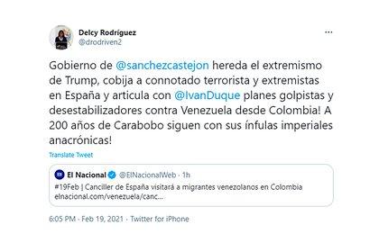 El tuit de Delcy Rodríguez contra Pedro Sánchez, Iván Duque y Donald Trump