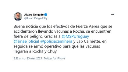 El mensaje de Álvaro Delgado en Twitter