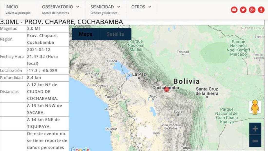La ilustración sobre el sismo en Cochabamba este 12 de abril. Captura de pantalla