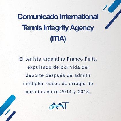 El comunicado que emitió la Asociación Argentina de Tenis