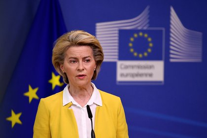 European Commission President Ursula von der Leyen delivers a statement on EU's coronavirus disease (COVID-19) vaccine strategy, following a college meeting at the EU Commission headquarters in Brussels, Belgium April 14, 2021. John Thys/Pool via REUTERS