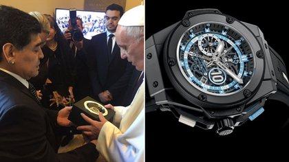 Diego y el regalo de un reloj de su colección al papa Francisco. Y uno de los ejemplares de la serie que la marca Hublot le dedicó