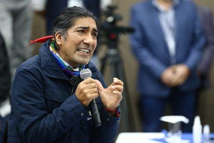 En la imagen, el aspirante presidencial de la primera vuelta electoral por el movimiento político indigenista Pachakutik, Yaku Pérez (EFE/José Jácome/Archivo)