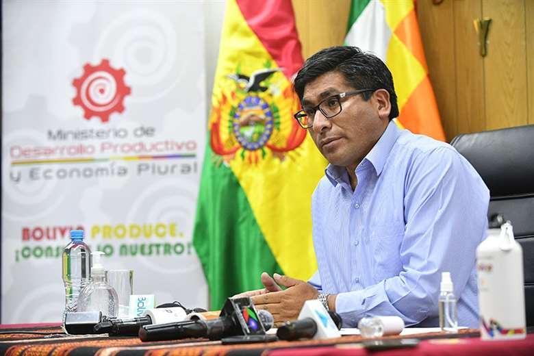 El ministro de Desarrollo Productivo, Néstor Huanca