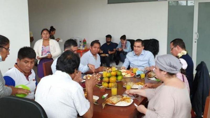 Canciller venezolano se reunió con Evo en el Chapare