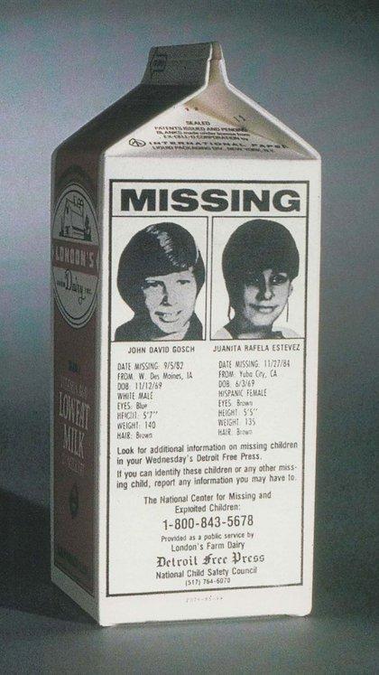 La imagen de los niños desaparecidos estuvo en todos los cartones de leche