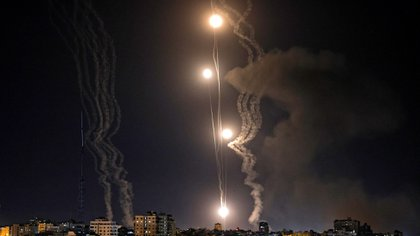 Rockets are launched towards Israel from Gaza City, controlled by the Palestinian Hamas movement, on May 11, 2021. (Photo by MOHAMMED ABED / AFP)