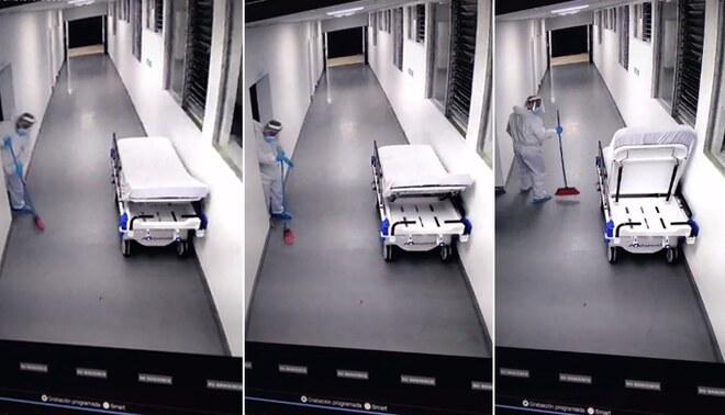 Supuesto fantasma asusta a trabajador de limpieza moviendo cama clínica - FOTO: TikTok