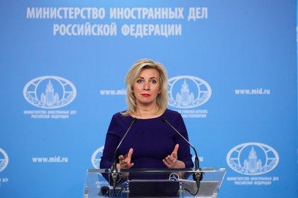 Foto de archivo: La portavoz del Ministerio de Asuntos Exteriores ruso, Maria Zakharova, en una rueda de prensa en Moscú el 22 de abril de 2021 (REUTERS)