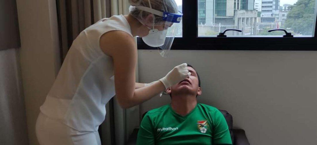 Un miembro de la delegación boliviana durante la prueba realizada este sábado. Foto: FBF