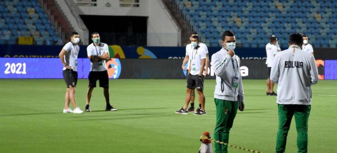 La Verde reconoció la cancha del estadio Olímpico de Goiánia
