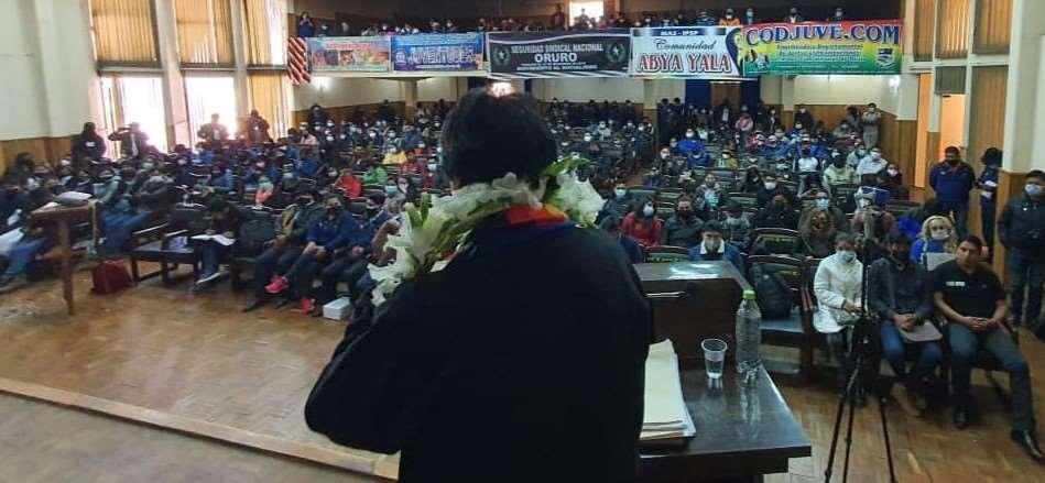 El expresidente en su discurso en Oruro (Foto: RRSS)