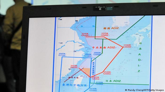 Foto de una pantalla con el mapa del ADIZ de Taiwan