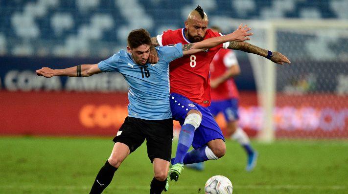 La selección chilena va con todo por el segundo tiempo ante Uruguay en Cuiabá.