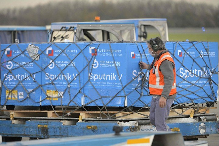 El último cargamento de Sputnik arribado al país, el 8 de junio.