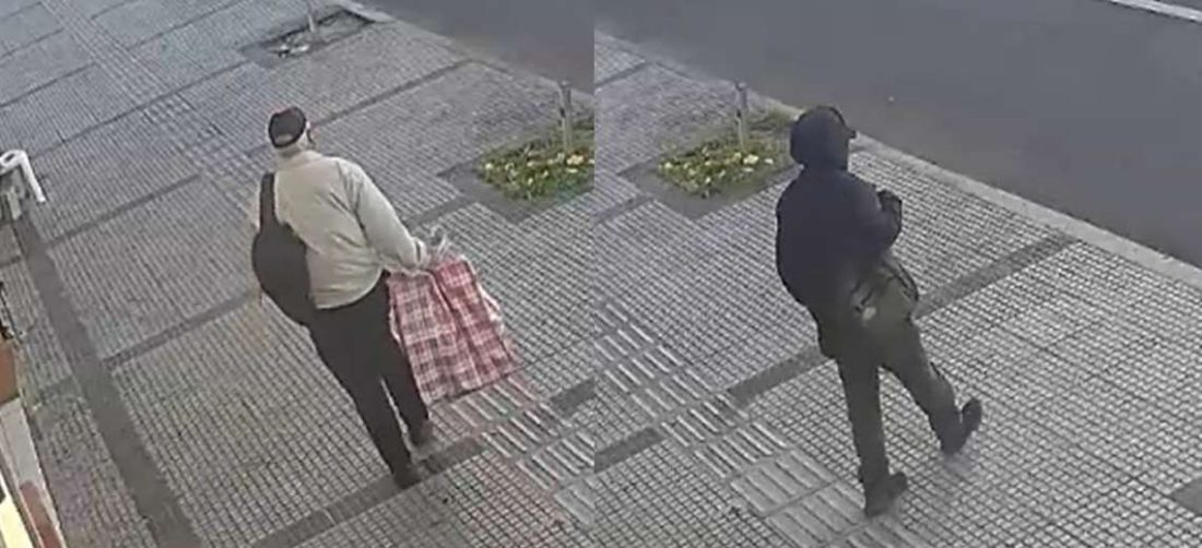 Este es el momento en que ambos delincuentes salen del consultorio. Foto: captura