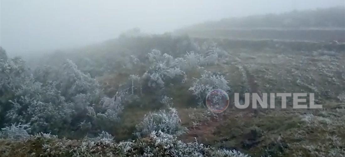 La nevada en los Valles cruceños se produjo la madrugada de este lunes