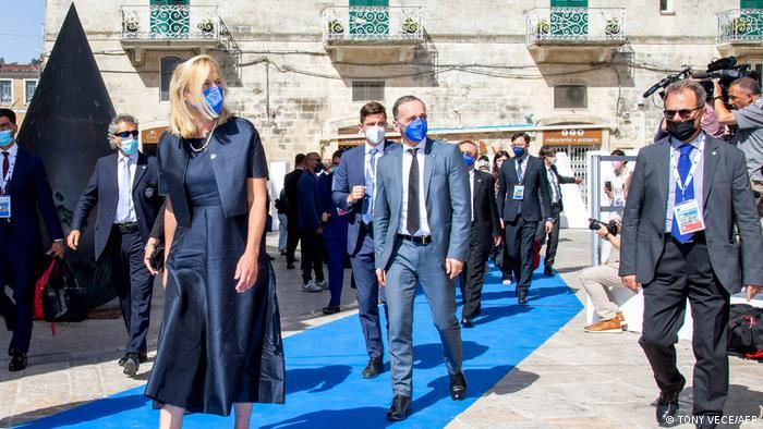 El ministro alemán de Exteriores, Heiko Maas, a su llegada a la cumbre.