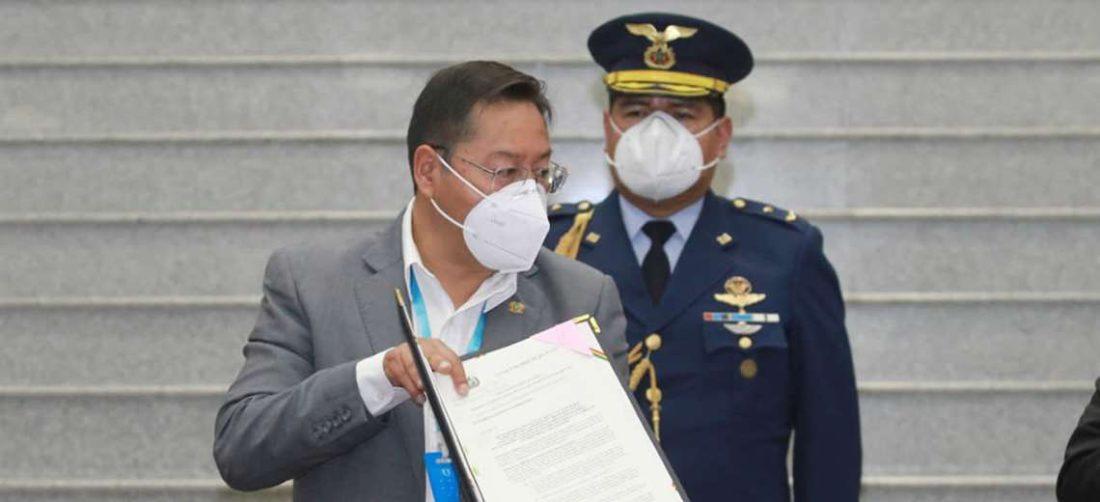 El presidente Arce promulgó la Ley en la sede de Gobierno. Foto. José Quintanilla