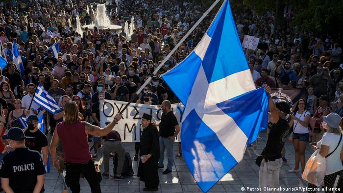 Manifestantes en la plaza Syntagma, en el centro de Atenas.