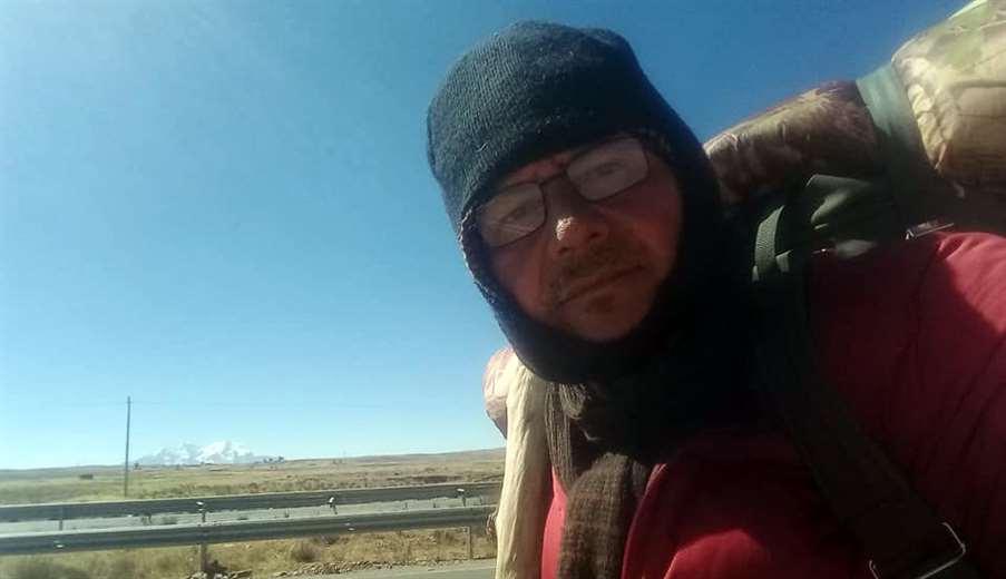 Gonzalo Melgar llegando a la ciudad de La Paz (Foto: Facebook)