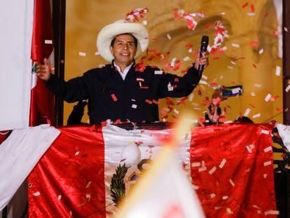 El izquierdista Pedro Castillo en un mitin del pasado 8 de junio en Lima.