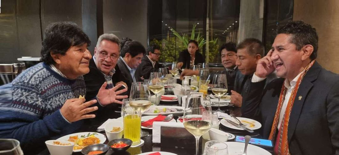 Evo estuvo reunido con Cerrón y otras personas en Lima