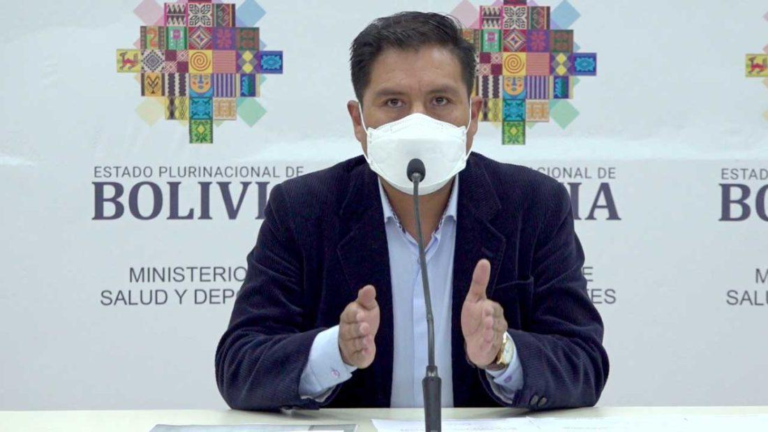 El ministro de Salud y Deportes, Jeyson Auza, en rueda de prensa. MINISTERIO DE SALUD