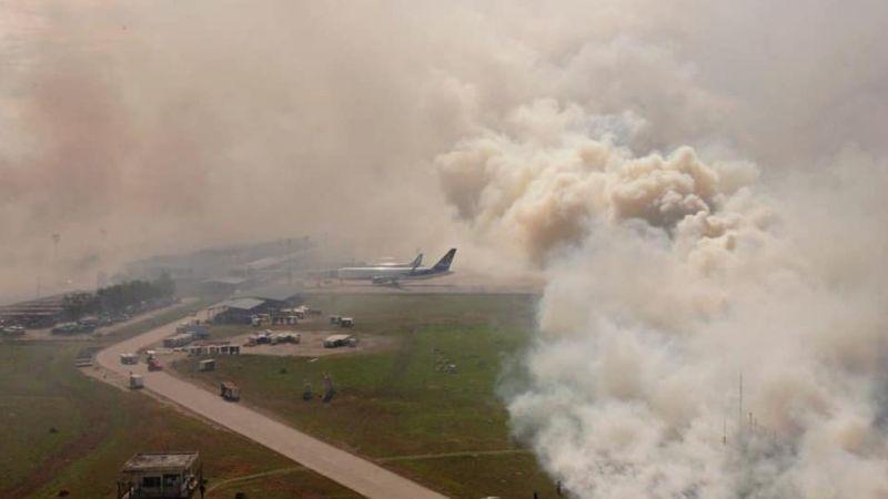 En Santa Cruz, un voraz incendio alcanza los predios de Viru Viru