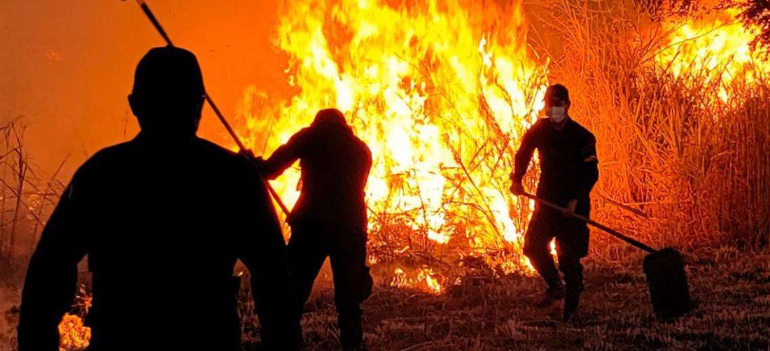 Pese al intenso trabajo de los bomberos, el fuego continúa