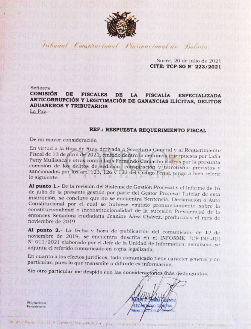 La carta enviada por el TCP a la Fiscalía General.