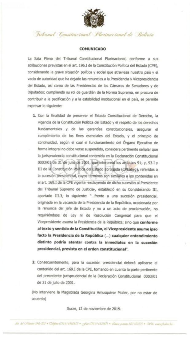 El comunicado emitido por el TCP en 2019.