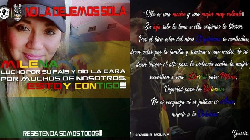Los mensajes compartidos desde la cuenta de Yassir Molina, en Facebook. RRSS