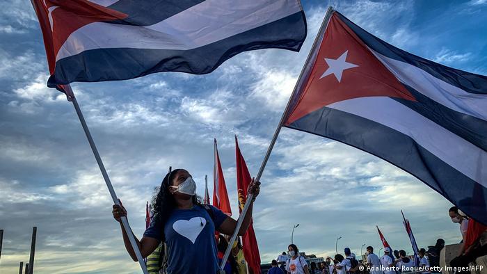 Manifestación a favor del gobierno cubano.