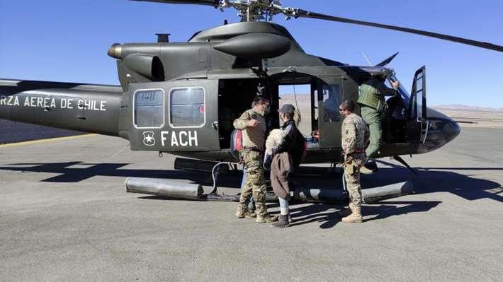 Eduardo Peinado Rivero fue rescatado en un helicóptero militar chileno. Foto: El Mercurio