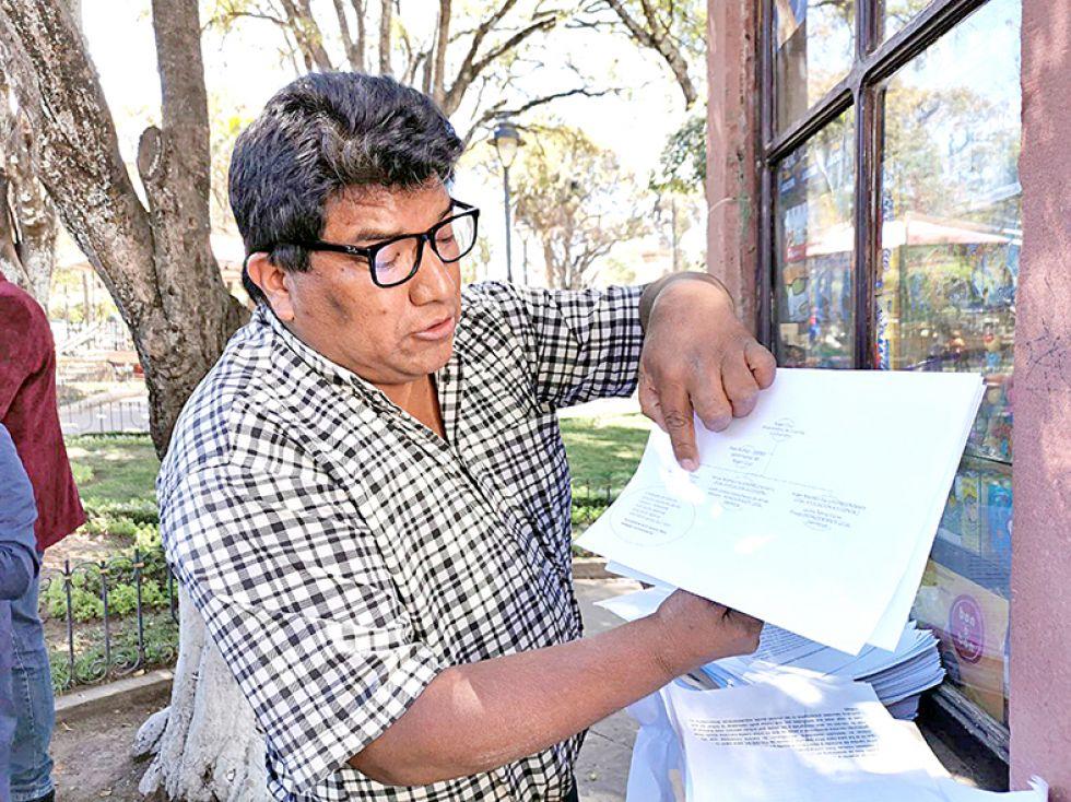 CORRUPCIÓN. El empresario Rolando Reynaga, ayer, ante la prensa.