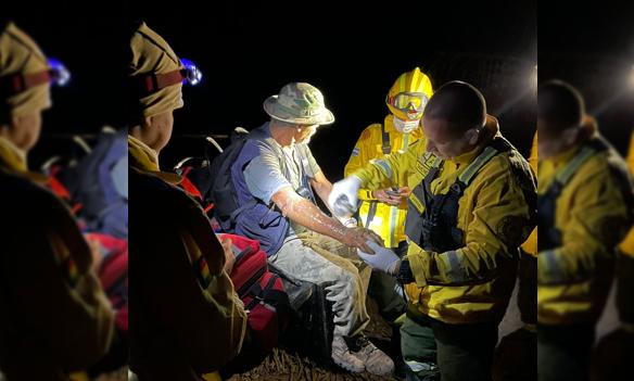 Por salvar su chaco, sufrió graves quemaduras Foto: Bomberos Quebracho