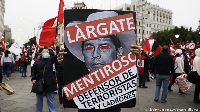 Peru Lima   Demonstration gegen Pedro Castillo