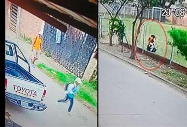 A la izquierda el menor es seguido, a la derecha cuando era golpeado por el asaltante