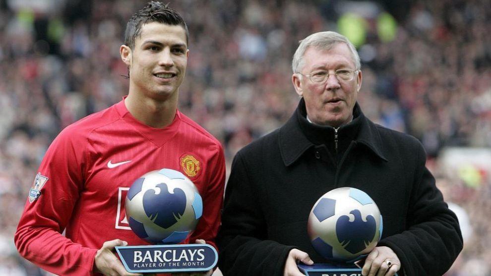 ristiano y Ferguson, con los premios de 'Jugador y Entrenador del mes' en 2008.