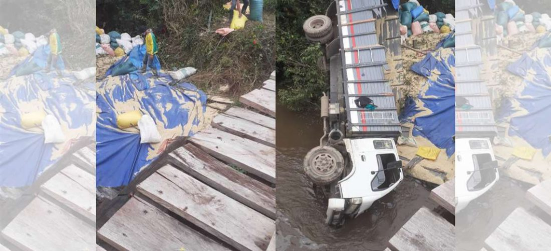 Un camión cayó de un puente en Buenavista