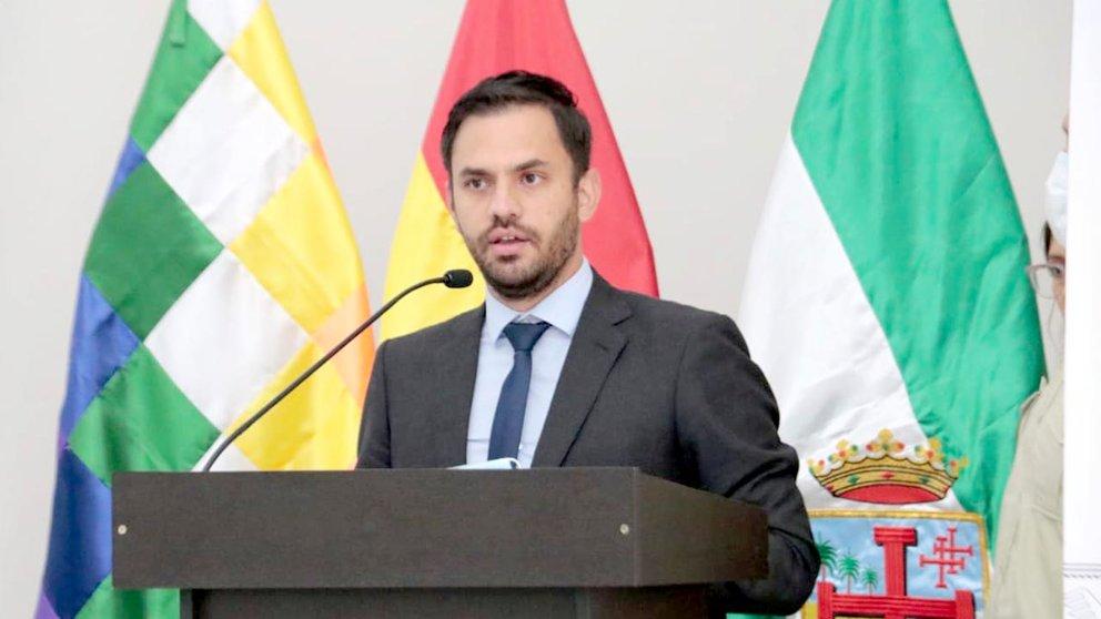 El ministro de Gobierno, Eduardo Del Castillo, en una conferencia de prensa. ABI