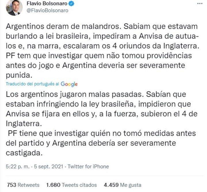 Flavio Bolsonaro, hijo del presidente de Brasil, durísimo con la Argentina tras el partido de Eliminatorias.